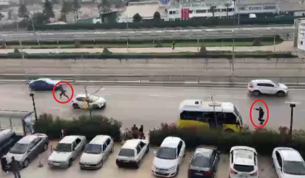 2 şüpheli ile polis arasındaki kovalamaca kamerada