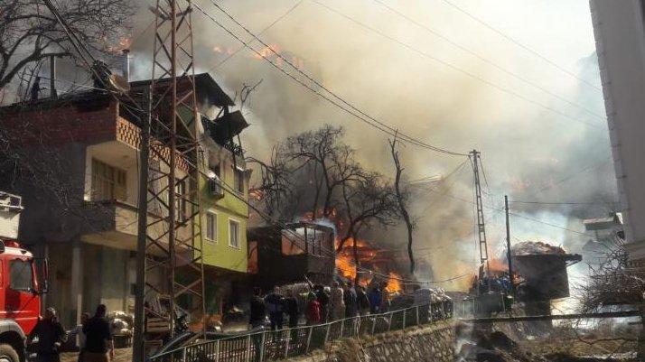 Son dakika... Artvin'de korku dolu anlar: Onlarca ev yandı